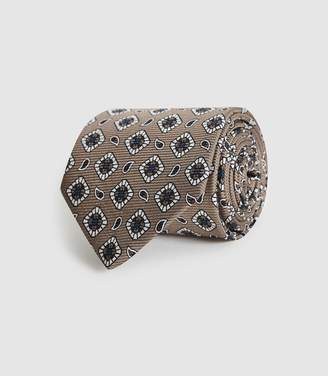 Reiss ALLI SILK PATTERNED TIE Champagne