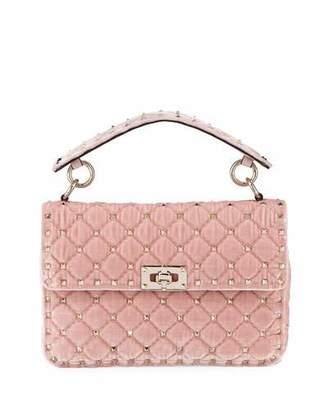 Valentino Rockstud Spike MediumQuilted Velvet Shoulder Bag