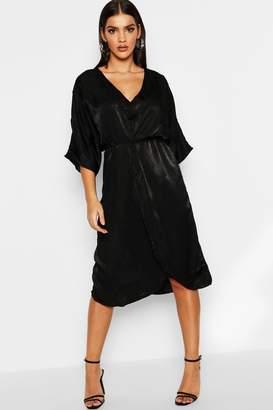 boohoo Kimono Sleeve Hammered Satin Midi Dress