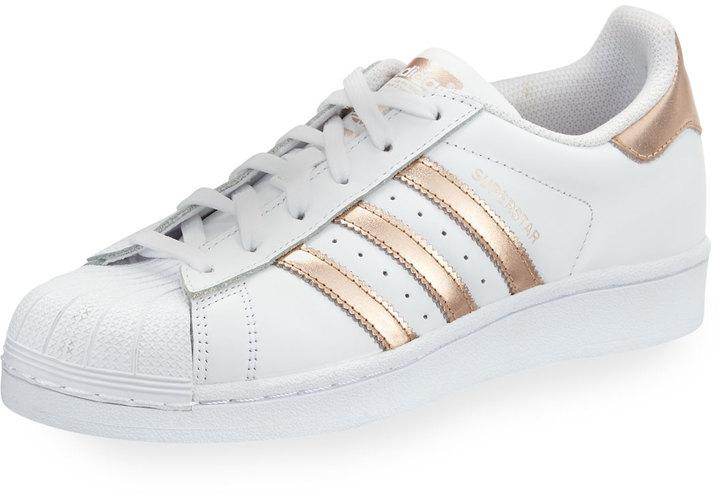 Adidas Superstar Original Fashion Sneaker, White/Rose Gold 2