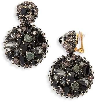 Oscar de la Renta Bold Disc Crystal Drop Earrings