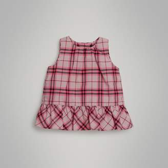 Burberry Ruffle Detail Check Cotton Top , Size: 2Y