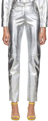 MSGM Silver Faux-Leather Trousers