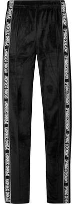 Opening Ceremony Intarsia-trimmed Velour Track Pants - Black