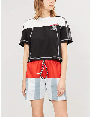 Alexander Wang Adidas X Ladies Black and Corewhite Disjoin Cotton-Jersey Crop Top