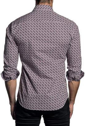 Jared Lang Men's Semi-Fitted Dot-Print Woven Sport Shirt