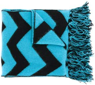 Piombo Mp Massimo zigzag pattern fringed scarf