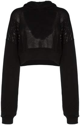Amiri cropped mesh hooded jumper