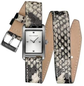 Rebecca Minkoff Women's Moment Snakeskin Embossed Leather Wrap Watch, 19mm