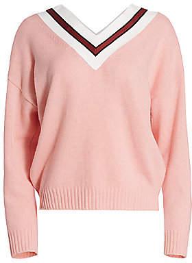 Sandro Women's Striped V-Neck Wool-Blend Sweater