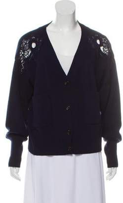 Chloé Merino Wool Embroidered Cardigan Navy Chloé Merino Wool Embroidered Cardigan