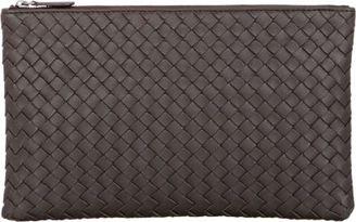 Bottega Veneta Women's Intrecciato Zip Case-DARK BROWN $640 thestylecure.com