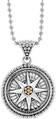 Lagos Signature Caviar Compass Pendant Necklace