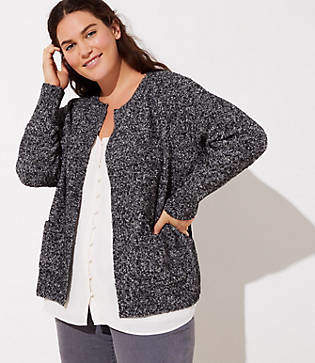 LOFT Plus Marled Open Pocket Cardigan