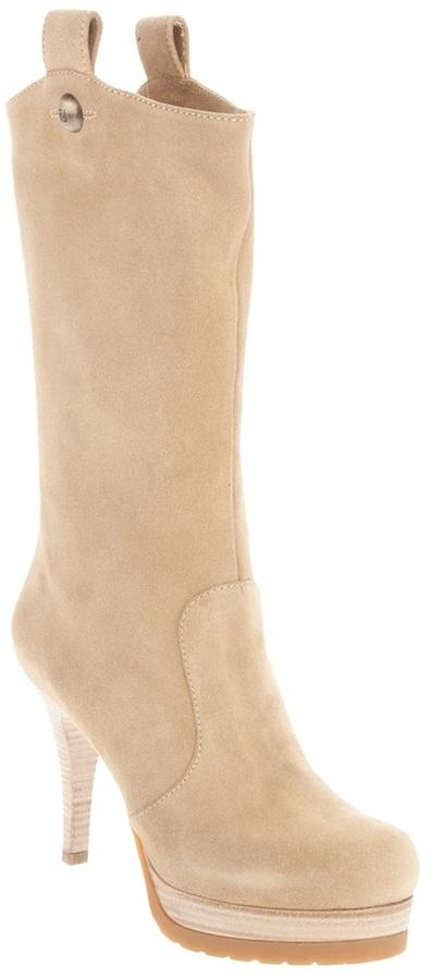 Fendi mid calf platform boot