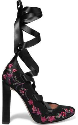 Etro Lace-Up Embroidered Satin Pumps