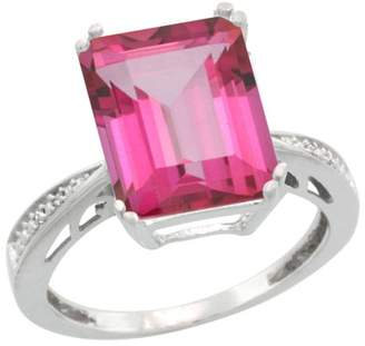 Sabrina Silver Sterling Silver Diamond Natural Topaz Ring Emerald-cut 12x10mm, 1/2 inch wide, size 6.5