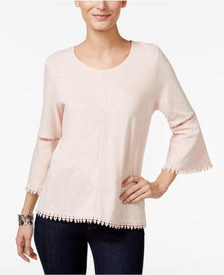 Style&Co. Style & Co Petite Crochet-Trim Lantern-Sleeve Top