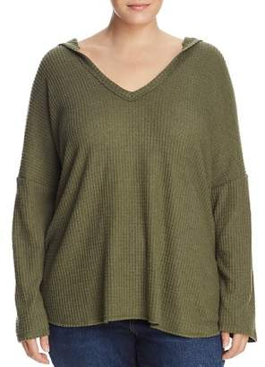 Elan International Plus Hooded V-Neck Waffle-Knit Sweatshirt