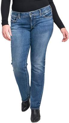 Silver Jeans Co. Women's Plus Size Suki Curvy Fit Mid Rise Straight Leg Jeans