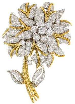 Peter Lindeman 18K Diamond Flower Brooch