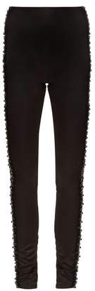 Koché Koche - Bead Embellished Side Stripe Satin Trousers - Womens - Black Blue