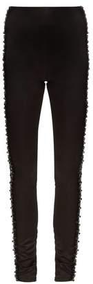 Koché KochA - Bead Embellished Side Stripe Satin Trousers - Womens - Black Blue
