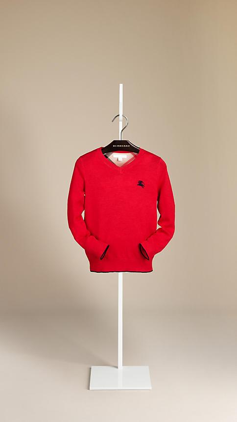 Burberry Contrast Trim Wool Sweater