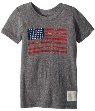 The Original Retro Brand Kids Vintage Tri-Blend American Flag Tee Boy's T Shirt