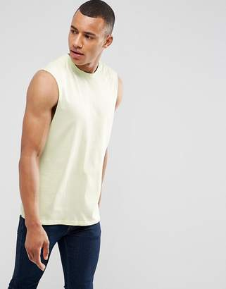 Asos Sleeveless T-Shirt With Dropped Armhole In Yellow