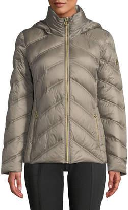 MICHAEL Michael Kors Down Fill Zip-Up Hooded Puffer Jacket