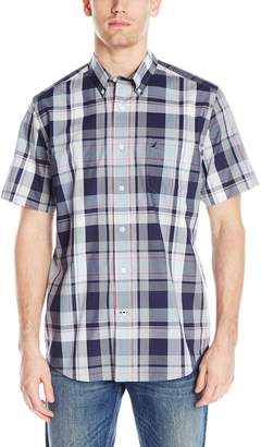 Nautica Men's Short Sleeve Cotton Poplin Wrinkle Resistant Plaid Shirt