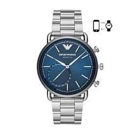 Emporio Armani Men'S Silver-Tone Hybrid Smartwatch