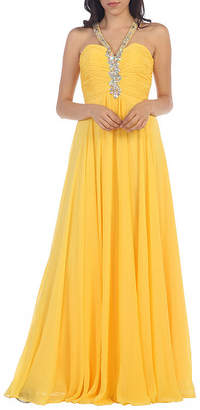 Asstd National Brand Beaded Halter Bridesmaids Gown