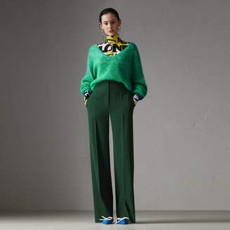 Burberry Silk Wool High-waisted Trousers