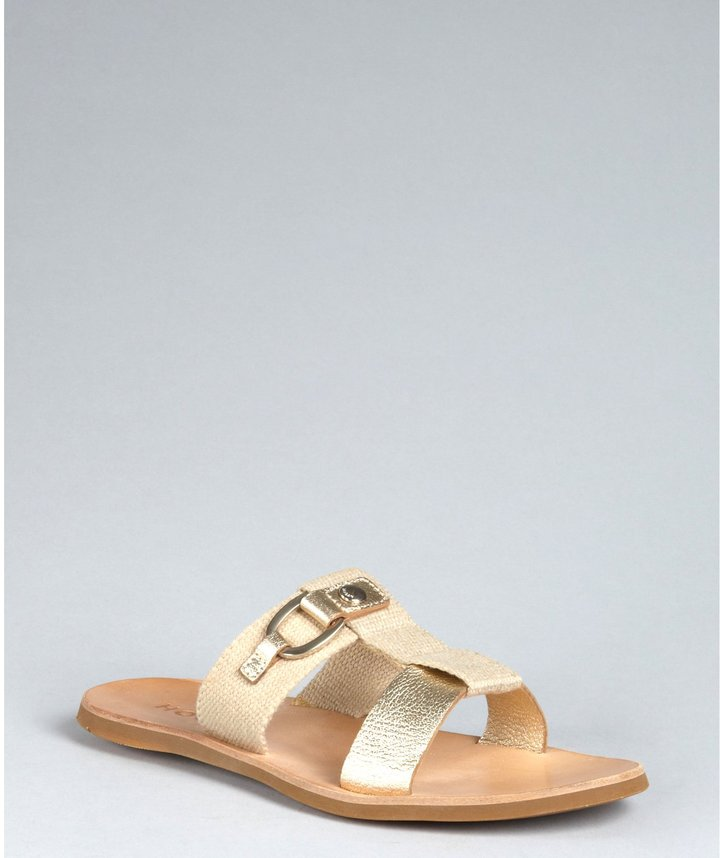 Hogan Pale Gold Crackled Leather And Canvas Sandals