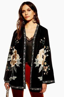 Topshop Velvet Embellished Kimono