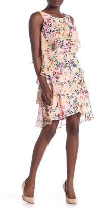 SL Fashions Floral Print Sleeveless Dress