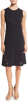 See by Chloe Sleeveless Embroidered Jersey Dress, Black