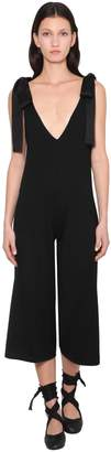 RED Valentino VIRGIN WOOL JUMPSUIT W/ SATIN BOWS