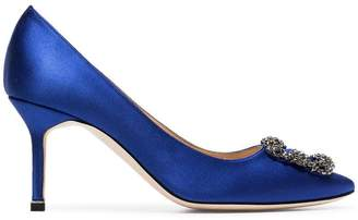 Manolo Blahnik blue Hangisi 70 silk satin leather pumps