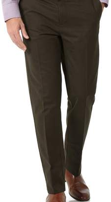 Charles Tyrwhitt Brown slim fit flat front non-iron chinos