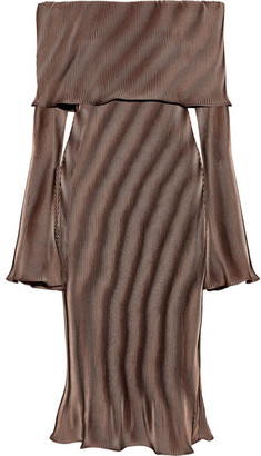 Beaufille - Andura Off-the-shoulder Ribbed-knit Midi Dress - Bronze $515 thestylecure.com