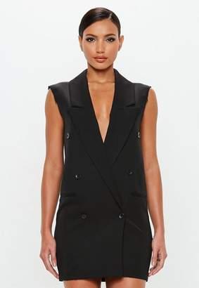 Missguided Black Raw Edge Sleeveless Blazer Dress