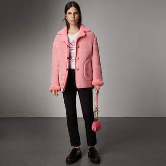 Burberry Leather Trim Shearling Oversized Jacket