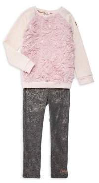 Juicy Couture Little Girl's Two-Piece Rosette Sweater & Dotted Leggings Set