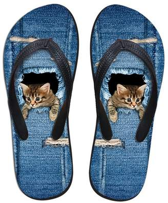 Coloranimal Comfort Home House Slippers for Women Denim Cat Design Casual Flip-Flop US10