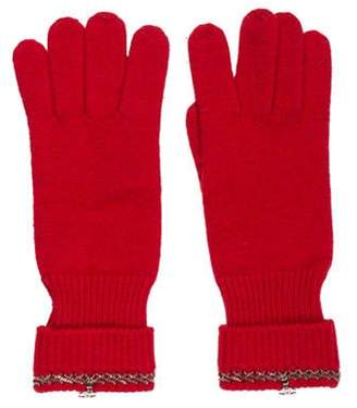 Chanel Cashmere Chain-Link Gloves w/ Tags Red Cashmere Chain-Link Gloves w/ Tags