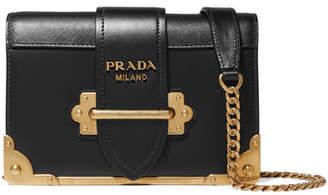 Prada Cahier Mini Leather Shoulder Bag - Black