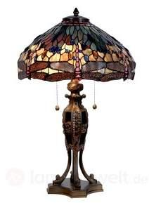 Große Tischleuchte Jungle im Tiffany-Stil